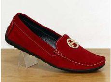 Мокасины женские из красной замши больших размеров в интернет магазине