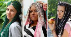 Модные косы с канекалоном – дреды и две косы, французские и датские, боксерские и афрокосички, в цветным канекалоном и омбре