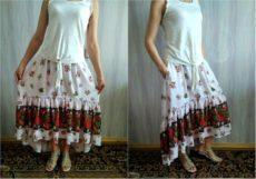 Как сшить длинную юбку бохо с карманами в боковом шве своими руками