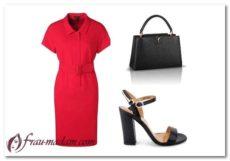 С чем носить красное повседневное офисное платье (фото)